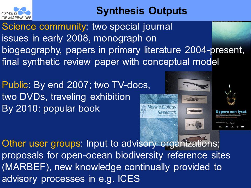 Synthesis Outputs Science community: two special journal issues in early 2008, monograph on biogeography, papers in primary literature 2004-present, final synthetic review paper with conceptual model Public: By end 2007; two TV-docs, two DVDs, traveling exhibition By 2010: popular book Other user groups: Input to advisory organizations; proposals for open-ocean biodiversity reference sites (MARBEF), new knowledge continually provided to advisory processes in e.g.