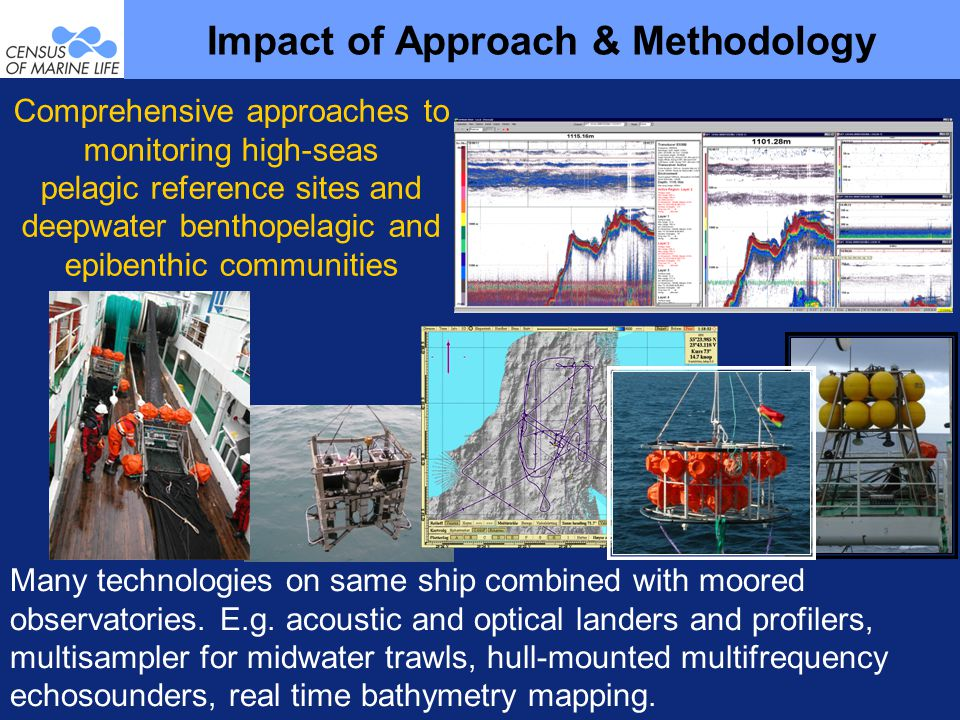 Comprehensive approaches to monitoring high-seas pelagic reference sites and deepwater benthopelagic and epibenthic communities Impact of Approach & Methodology Many technologies on same ship combined with moored observatories.