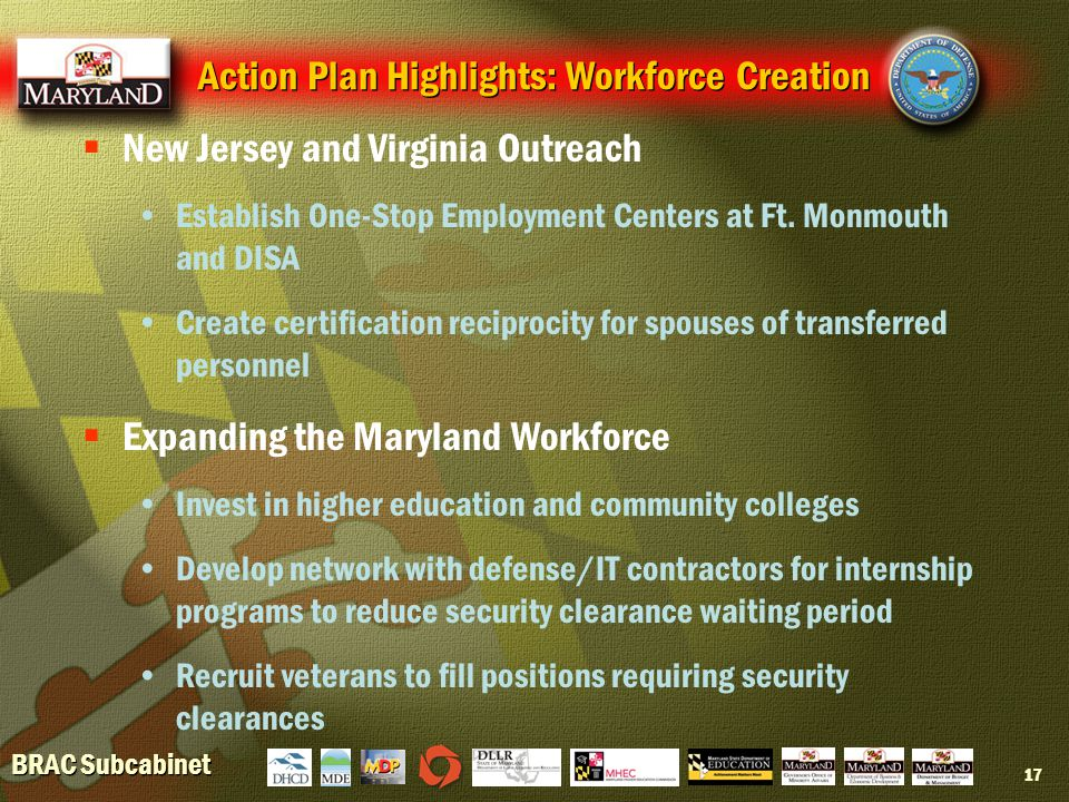 BRAC Subcabinet 17  New Jersey and Virginia Outreach Establish One-Stop Employment Centers at Ft.