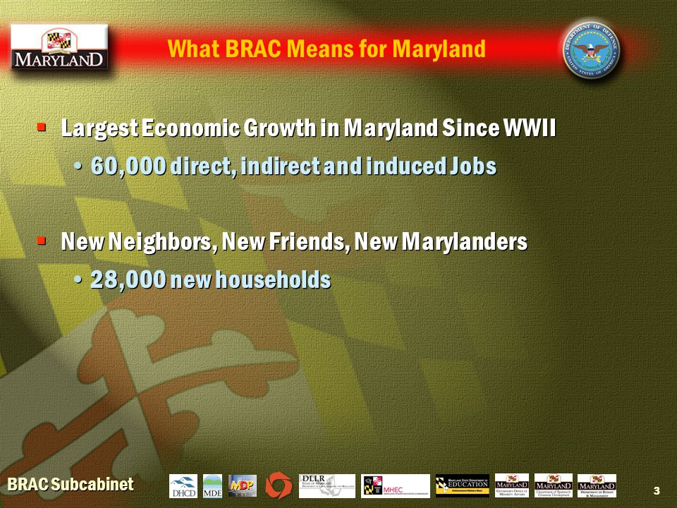 BRAC Subcabinet 3  Largest Economic Growth in Maryland Since WWII 60,000 direct, indirect and induced Jobs  New Neighbors, New Friends, New Marylanders 28,000 new households  Largest Economic Growth in Maryland Since WWII 60,000 direct, indirect and induced Jobs  New Neighbors, New Friends, New Marylanders 28,000 new households What BRAC Means for Maryland