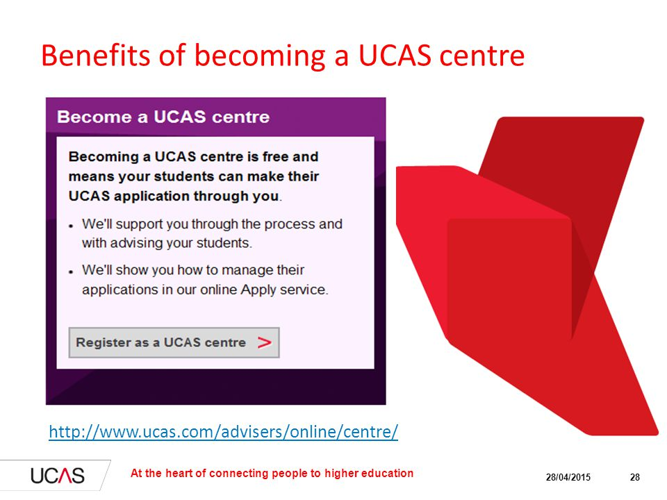 Benefits of becoming a UCAS centre Ability to manage applications (Can be used for foundation programmes, schools, agencies or HEI's own overseas offices) Access to dedicated Schools Helpline Centres receive information on UCAS' in-country visits, communications and operational updates 28/04/2015 At the heart of connecting people to higher education 28 http://www.ucas.com/advisers/online/centre/
