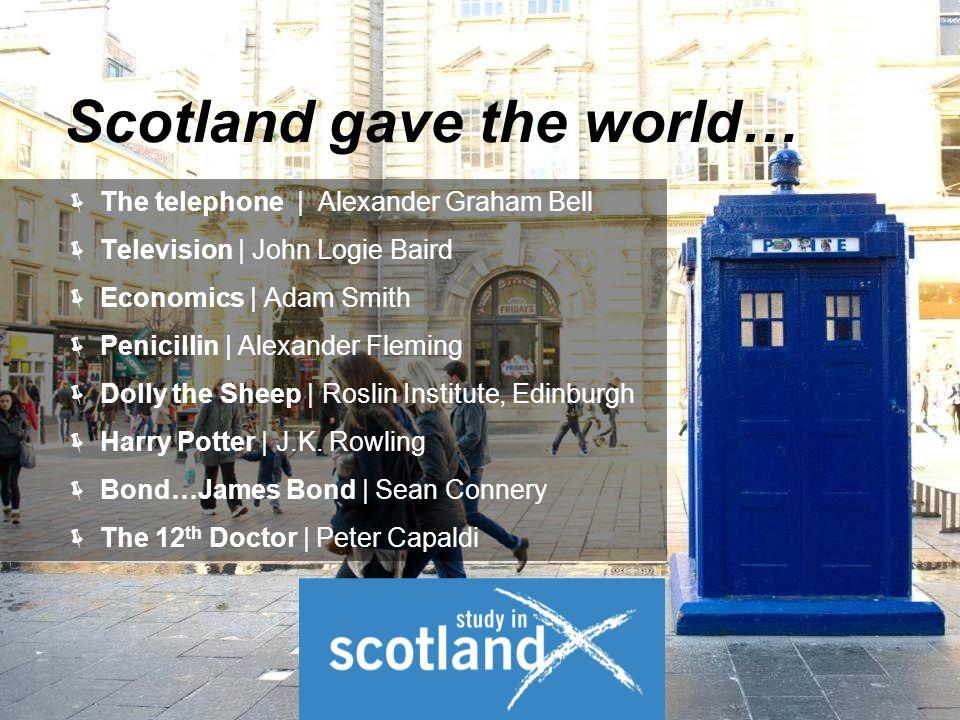  The telephone | Alexander Graham Bell  Television | John Logie Baird  Economics | Adam Smith  Penicillin | Alexander Fleming  Dolly the Sheep | Roslin Institute, Edinburgh  Harry Potter | J.K.
