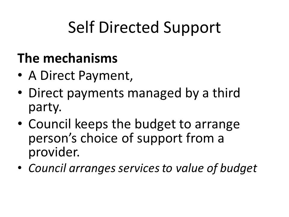 Self Directed Support The mechanisms A Direct Payment, Direct payments managed by a third party.