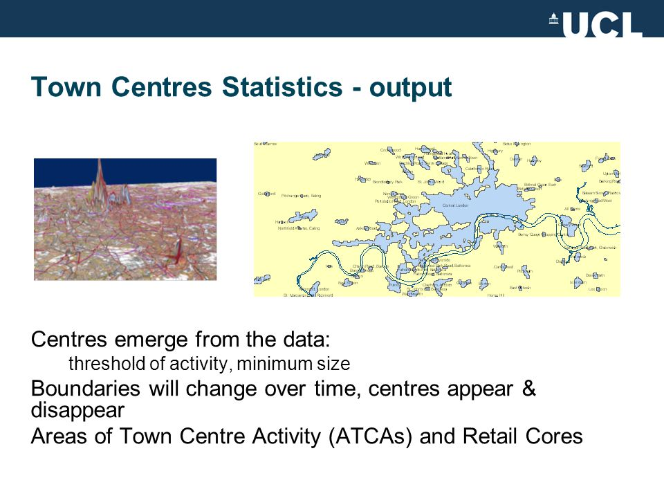 Statistics for understanding Town Centre Retail Change Thanks to Mike Batty, Mark Thurstain-Goodwin, David Thorpe, Andrew Smith Miles Davis CASA Seminar - 25 th February 2009 m.davis@ucl.ac.uk