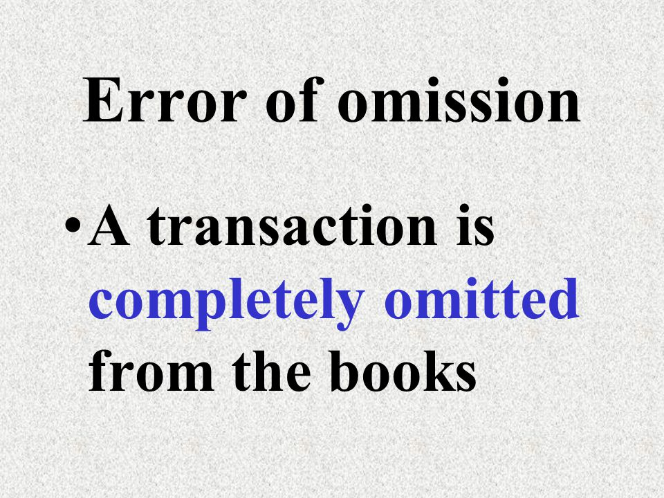 Error of omission Example: Office furniture had been purchased for $3,600 on credit from Kowloon Co..