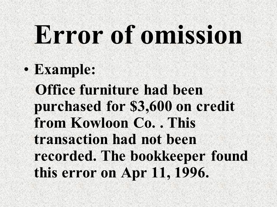 Error of original entry Wrong amount is entered in the correct side of the account