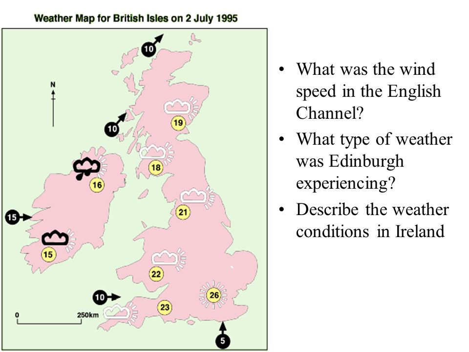 What was the wind speed in the English Channel.What type of weather was Edinburgh experiencing.