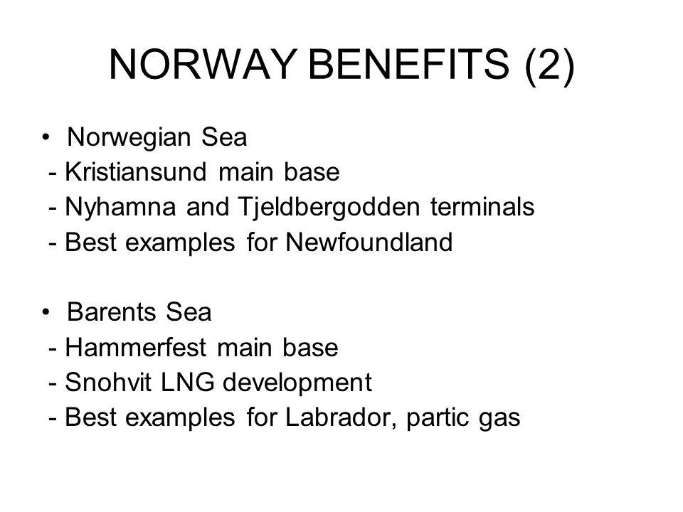 NORWAY BENEFITS (2) Norwegian Sea - Kristiansund main base - Nyhamna and Tjeldbergodden terminals - Best examples for Newfoundland Barents Sea - Hammerfest main base - Snohvit LNG development - Best examples for Labrador, partic gas