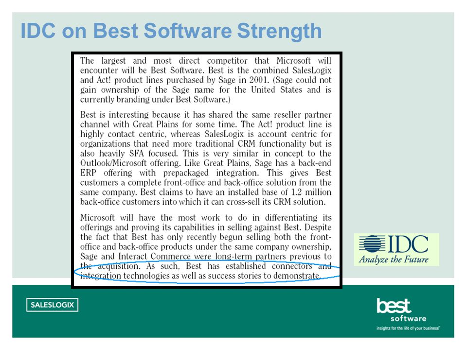 IDC on Best Software Strength