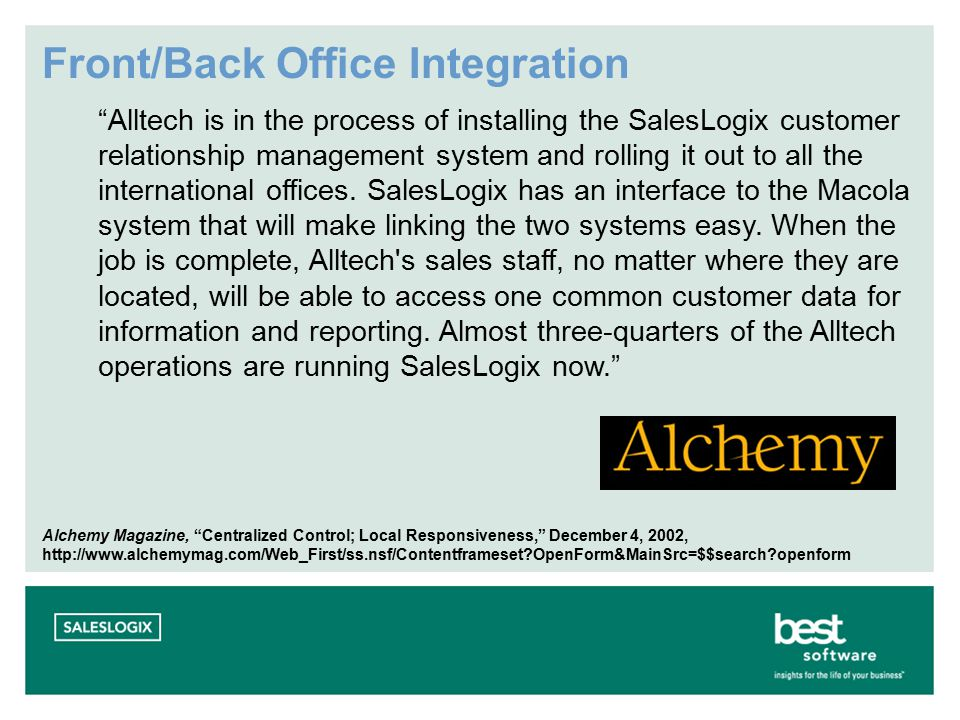 Front/Back Office Integration Alltech is in the process of installing the SalesLogix customer relationship management system and rolling it out to all the international offices.
