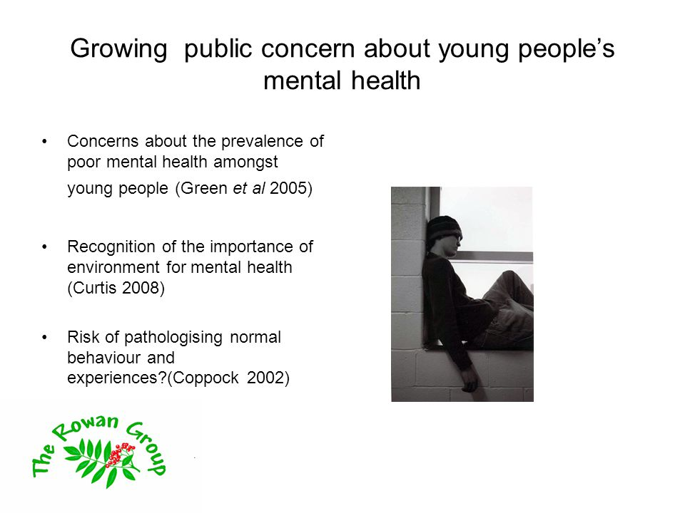 Growing public concern about young people's mental health Concerns about the prevalence of poor mental health amongst young people (Green et al 2005) Recognition of the importance of environment for mental health (Curtis 2008) Risk of pathologising normal behaviour and experiences (Coppock 2002)