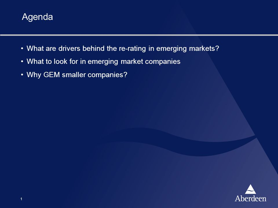1 Agenda What are drivers behind the re-rating in emerging markets? What to look for in emerging market companies Why GEM smaller companies?