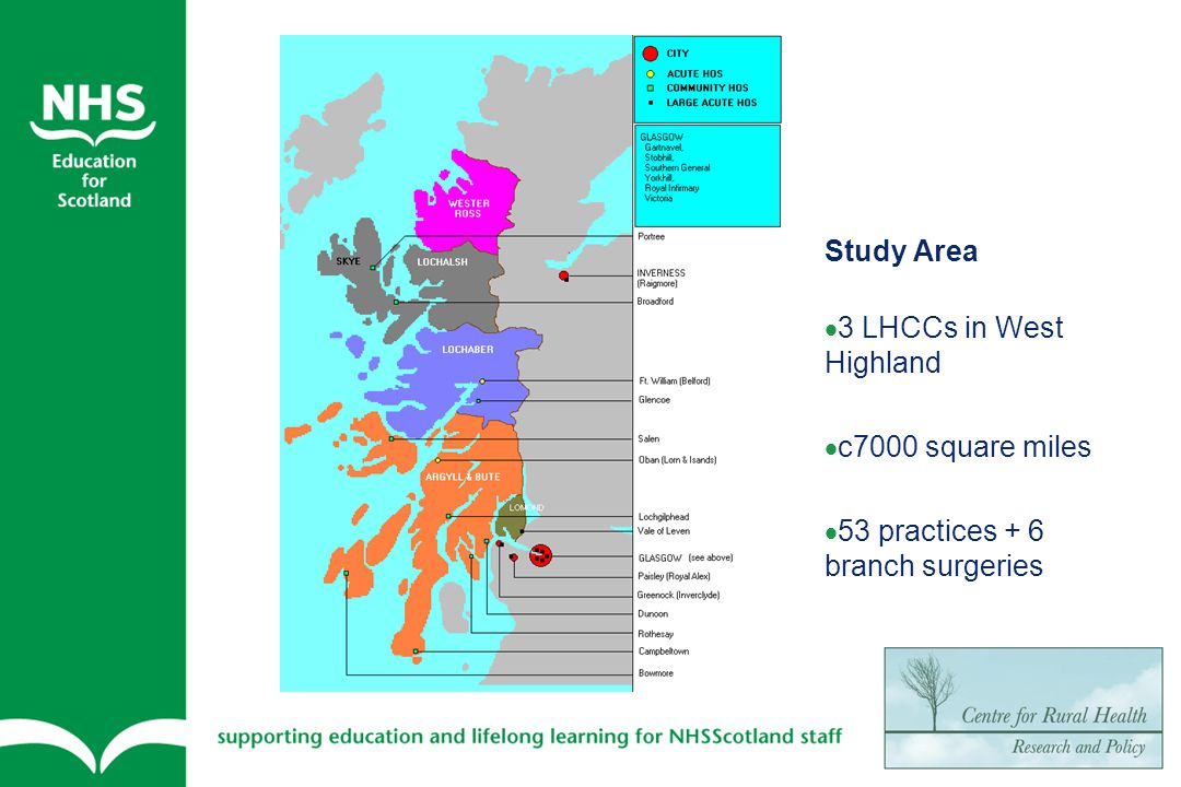 Settlement size classification of study area with urban comparison SHoS Levels Level 2 Urban Level 3 Accessible Level 4-7Level 8 Very Remote Study Area5% 17%73% Inverness84%16%--