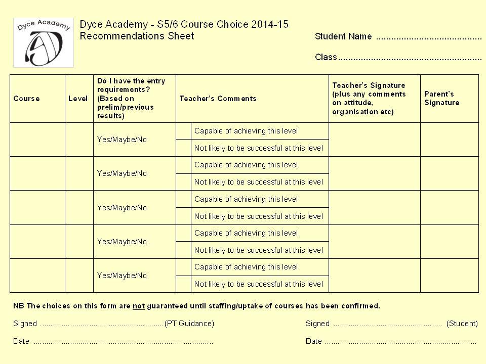 S5-6 Choice Sheet – 2014-15