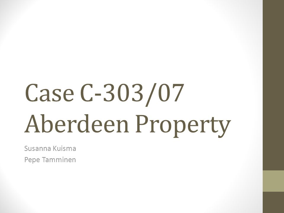 Case facts Reference for a preliminary ruling from the Supreme Administrative Court of Finland Parties: Aberdeen Property Finninvest Alpha Oy (Alpha) Aberdeen Property Nordic Fund I SICAV (Nordic fund SICAV) the Finnish Government Withholding tax charged on dividends paid to non-resident companies other than companies within the meaning of 90/435/EEC