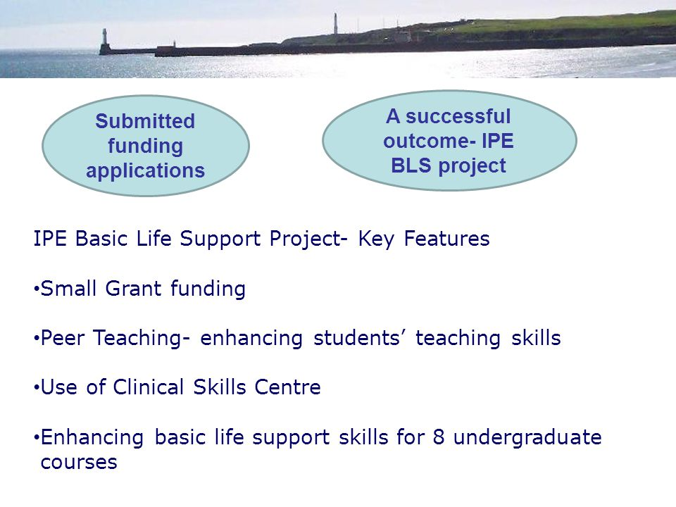 Submitted funding applications IPE Basic Life Support Project- Key Features Small Grant funding Peer Teaching- enhancing students' teaching skills Use of Clinical Skills Centre Enhancing basic life support skills for 8 undergraduate courses A successful outcome- IPE BLS project