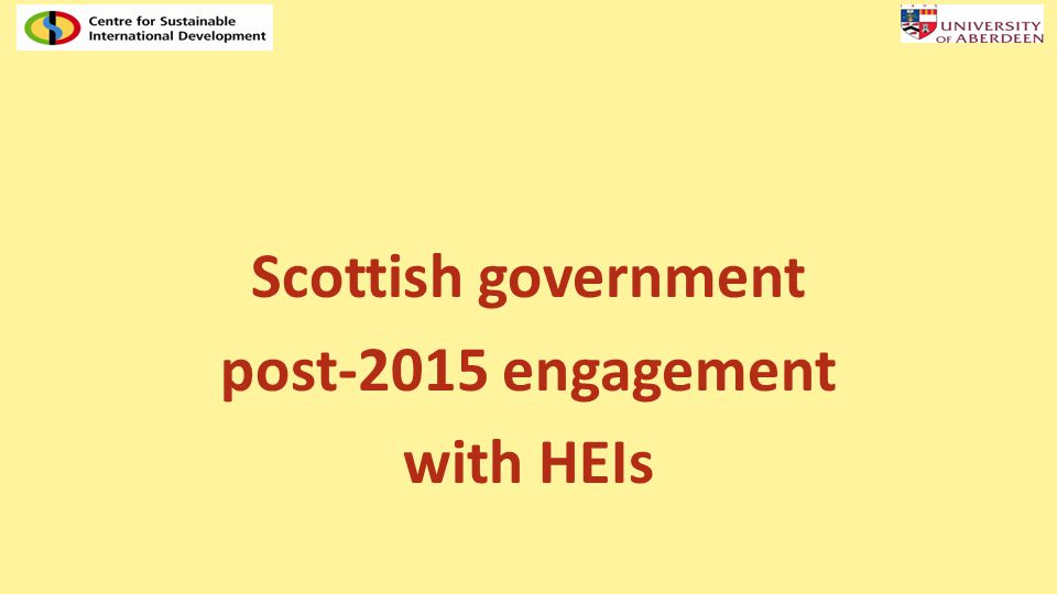 Scottish government post-2015 engagement with HEIs