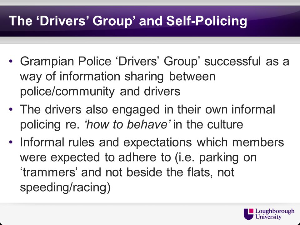 Lessons for RSOs: ASB Powers In case of Aberdeen's boy racers, ASB powers were only successful in the short term Long term implications – stigmatized group and impacted negatively on police-driver relations Tension between successful consensual management of young drivers..