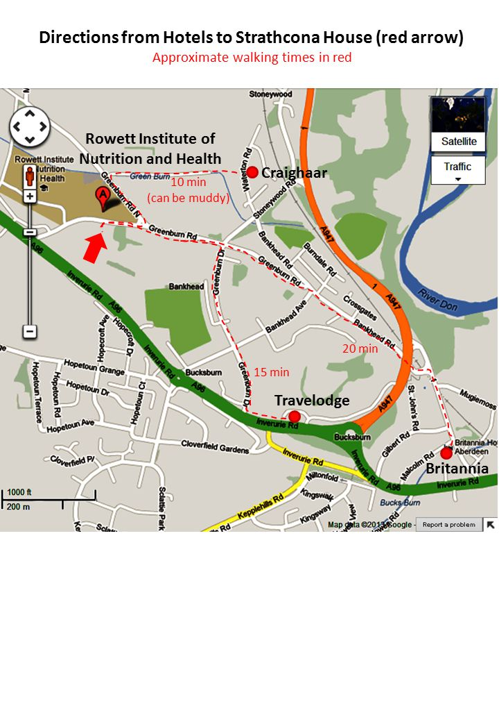 Directions from Hotels to Strathcona House (red arrow) Approximate walking times in red Travelodge Craighaar Britannia Rowett Institute of Nutrition and Health 10 min (can be muddy) 15 min 20 min