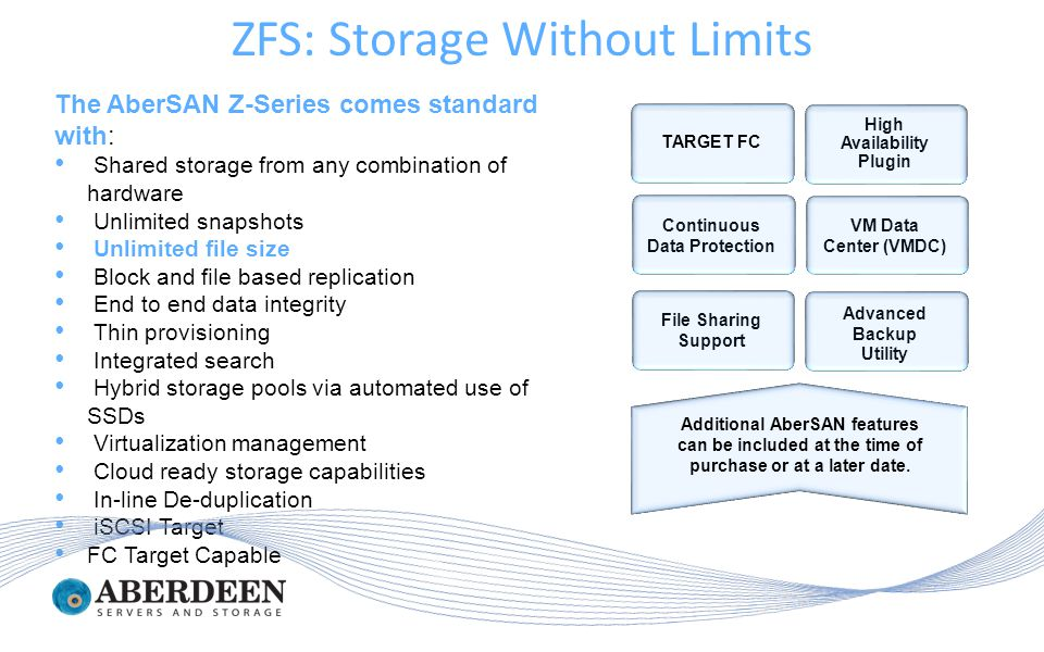 The AberSAN Z-Series comes standard with: Shared storage from any combination of hardware Unlimited snapshots Unlimited file size Block and file based replication End to end data integrity Thin provisioning Integrated search Hybrid storage pools via automated use of SSDs Virtualization management Cloud ready storage capabilities In-line De-duplication iSCSI Target FC Target Capable TARGET FC Additional AberSAN features can be included at the time of purchase or at a later date.