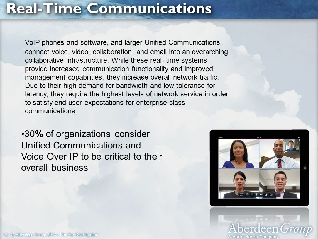 12 © Aberdeen Group 2013 – Not For Distribution Real-Time Communications VoIP phones and software, and larger Unified Communications, connect voice, video, collaboration, and email into an overarching collaborative infrastructure.