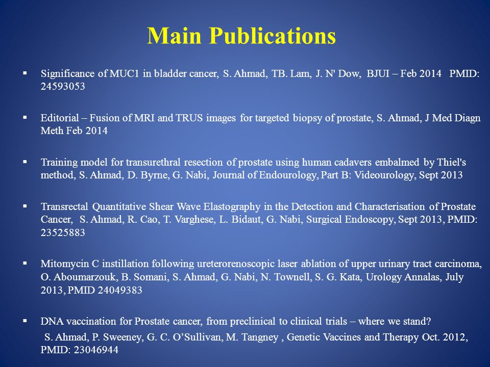Main Publications  Significance of MUC1 in bladder cancer, S.