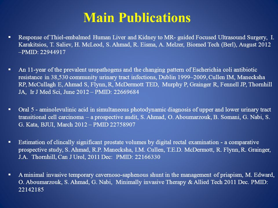 Main Publications  Response of Thiel-embalmed Human Liver and Kidney to MR- guided Focused Ultrasound Surgery, I.