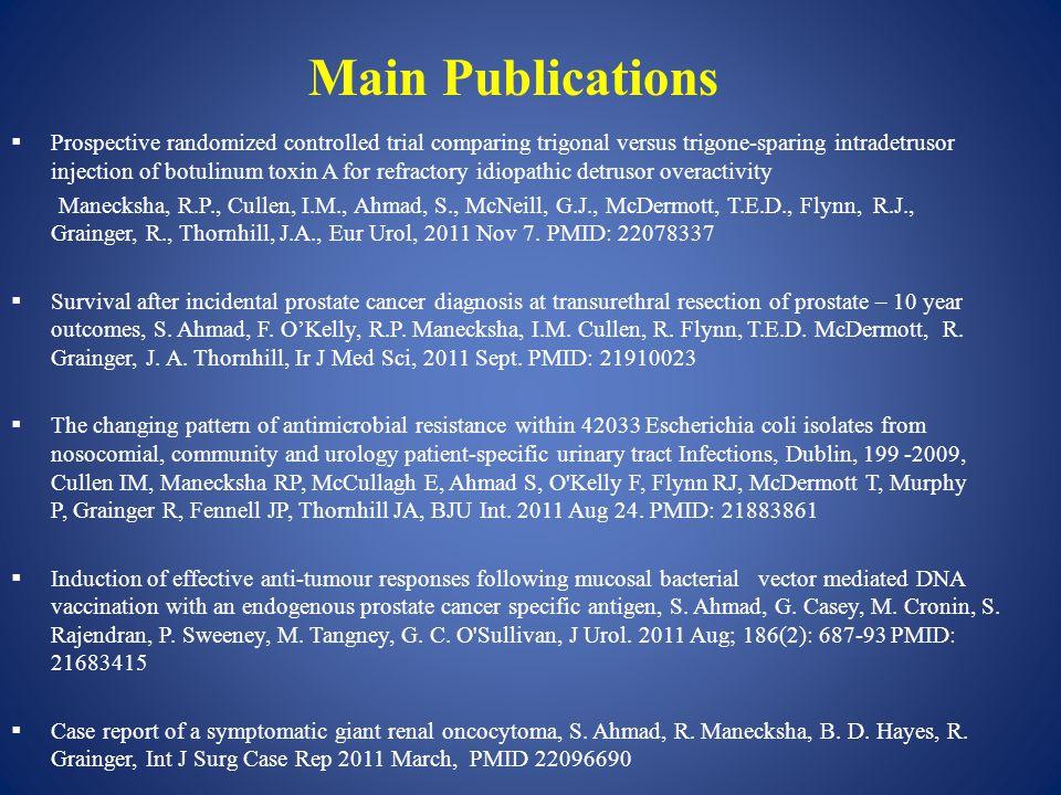  Prospective randomized controlled trial comparing trigonal versus trigone-sparing intradetrusor injection of botulinum toxin A for refractory idiopathic detrusor overactivity Manecksha, R.P., Cullen, I.M., Ahmad, S., McNeill, G.J., McDermott, T.E.D., Flynn, R.J., Grainger, R., Thornhill, J.A., Eur Urol, 2011 Nov 7.