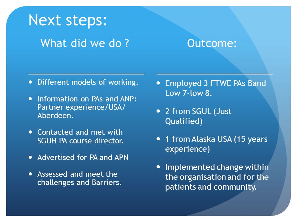 Next steps: What did we do ? Different models of working. Information on PAs and ANP: Partner experience/USA/ Aberdeen. Contacted and met with SGUH PA