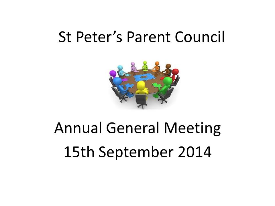 6.00 pm Refreshments 6.15 pm Welcome and context for meeting 6.20 pm Finance Update and Approval of Accounts 6.30 pm Reports on 2013- 2014: Events Items funded by the Parent Council Parental Involvement 6.50 pm Headteacher's Report/ School Improvement Plan Question Time 7.05pm The Year Ahead :  Proposed Events  Aberdeen City Council Parent Forum and Key Dates  Election of officers  Arranging meeting days and times 7.30pm Close of meeting