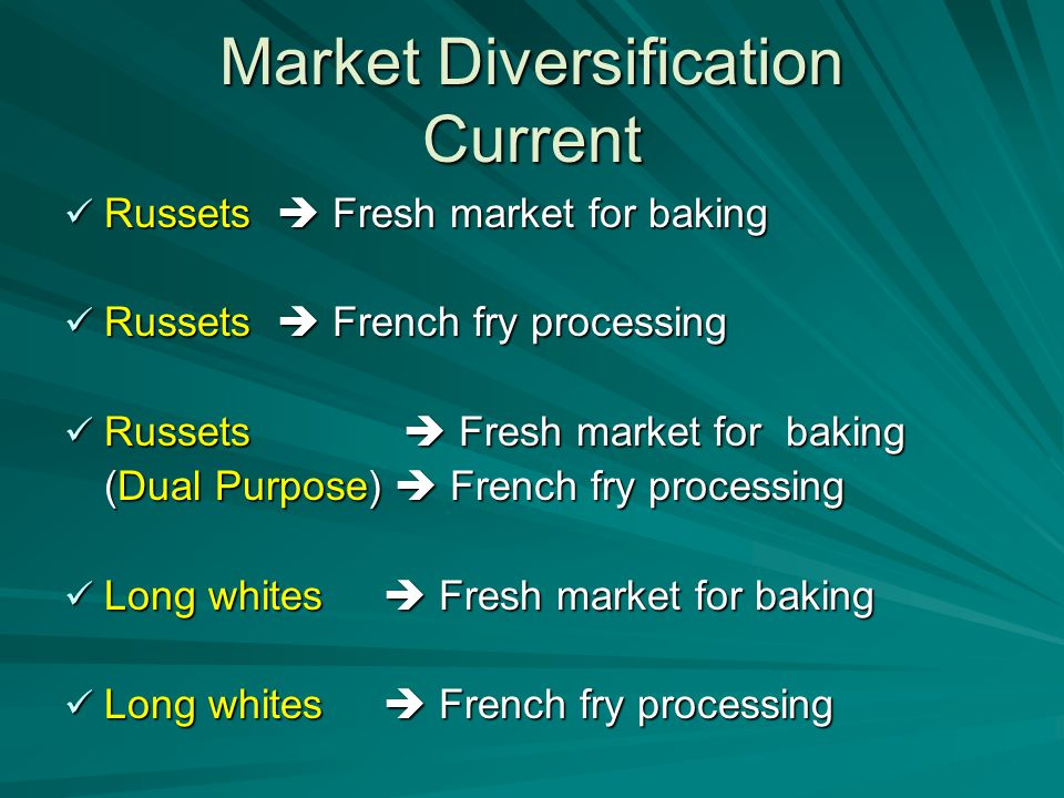 Market Diversification Current Russets  Fresh market for baking Russets  Fresh market for baking Russets  French fry processing Russets  French fry processing Russets  Fresh market for baking Russets  Fresh market for baking (Dual Purpose)  French fry processing (Dual Purpose)  French fry processing Long whites  Fresh market for baking Long whites  Fresh market for baking Long whites  French fry processing Long whites  French fry processing