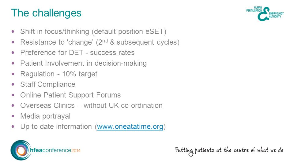 Shift in focus/thinking (default position eSET) Resistance to change' (2 nd & subsequent cycles) Preference for DET - success rates Patient Involvement in decision-making Regulation - 10% target Staff Compliance Online Patient Support Forums Overseas Clinics – without UK co-ordination Media portrayal Up to date information (www.oneatatime.org)www.oneatatime.org The challenges