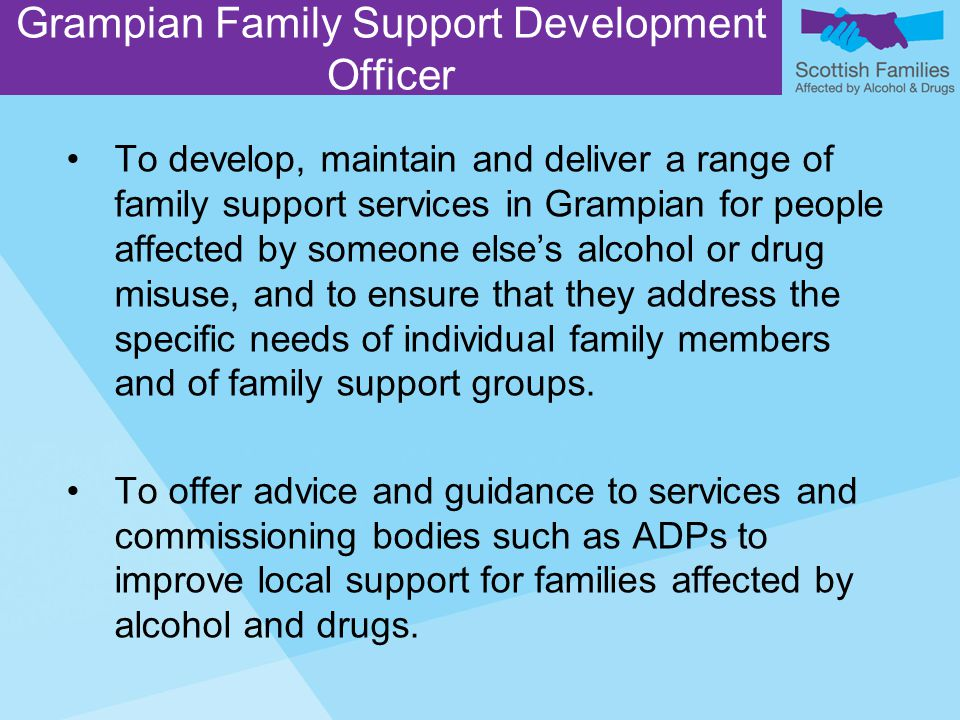 To develop, maintain and deliver a range of family support services in Grampian for people affected by someone else's alcohol or drug misuse, and to ensure that they address the specific needs of individual family members and of family support groups.