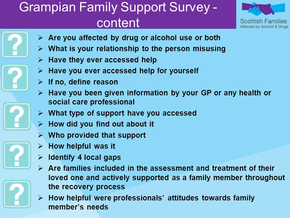  Are you affected by drug or alcohol use or both  What is your relationship to the person misusing  Have they ever accessed help  Have you ever accessed help for yourself  If no, define reason  Have you been given information by your GP or any health or social care professional  What type of support have you accessed  How did you find out about it  Who provided that support  How helpful was it  Identify 4 local gaps  Are families included in the assessment and treatment of their loved one and actively supported as a family member throughout the recovery process  How helpful were professionals' attitudes towards family member's needs Grampian Family Support Survey - content