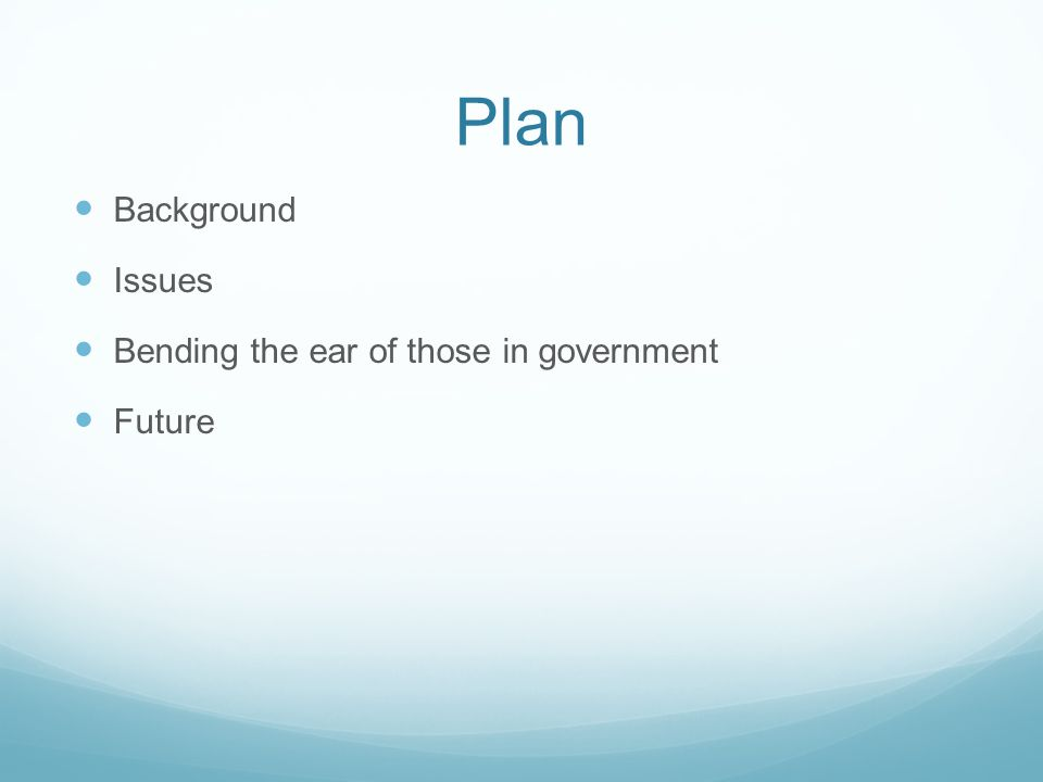 Plan Background Issues Bending the ear of those in government Future