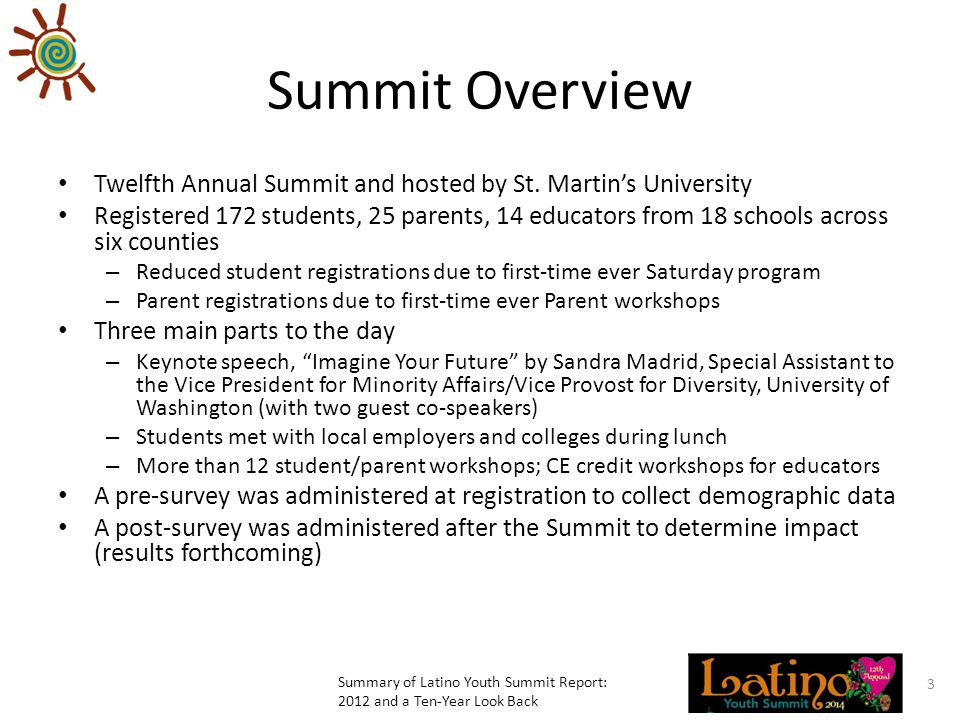 Summit Overview Twelfth Annual Summit and hosted by St.
