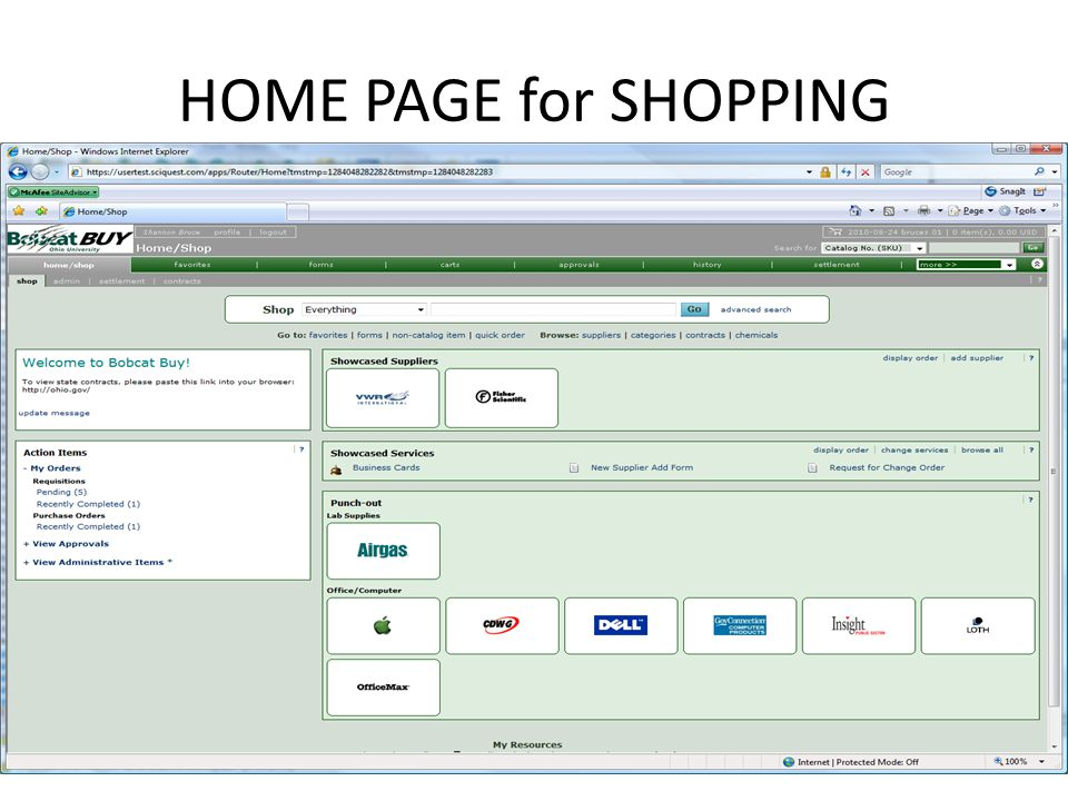 HOME PAGE for SHOPPING