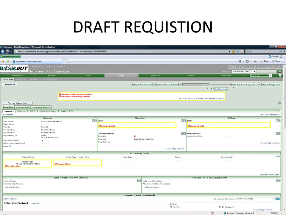 DRAFT REQUISTION