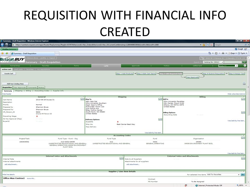 REQUISITION WITH FINANCIAL INFO CREATED