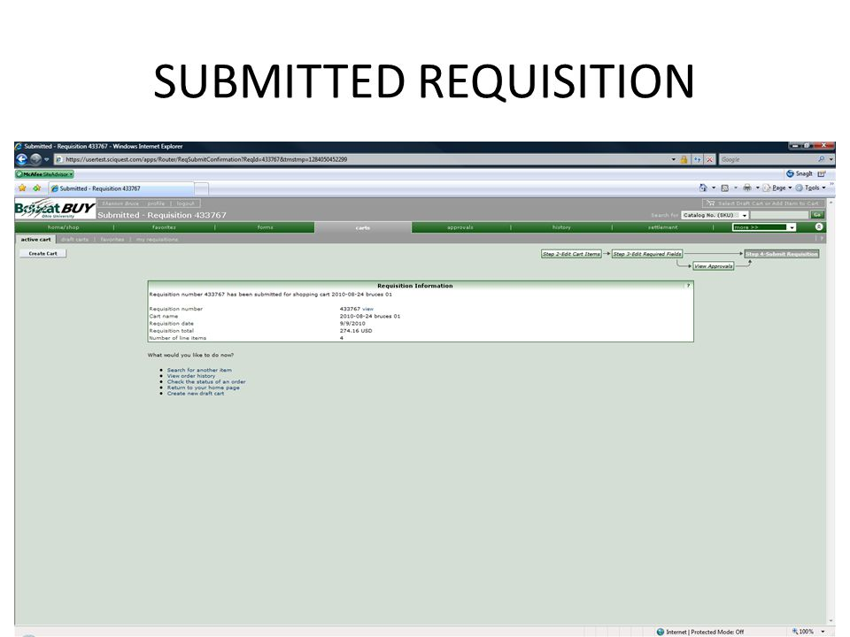 SUBMITTED REQUISITION