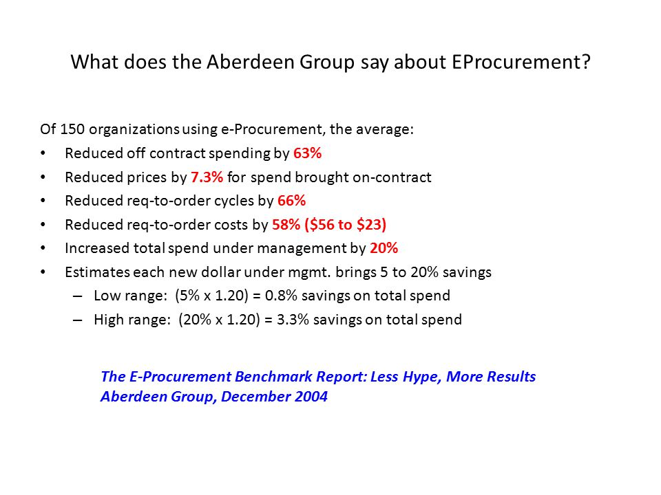 What does the Aberdeen Group say about EProcurement.