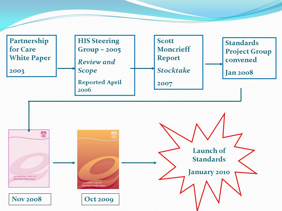 Partnership for Care White Paper 2003 HIS Steering Group – 2005 Review and Scope Reported April 2006 Scott Moncrieff Report Stocktake 2007 Standards Project Group convened Jan 2008 Oct 2009 Launch of Standards January 2010 Nov 2008