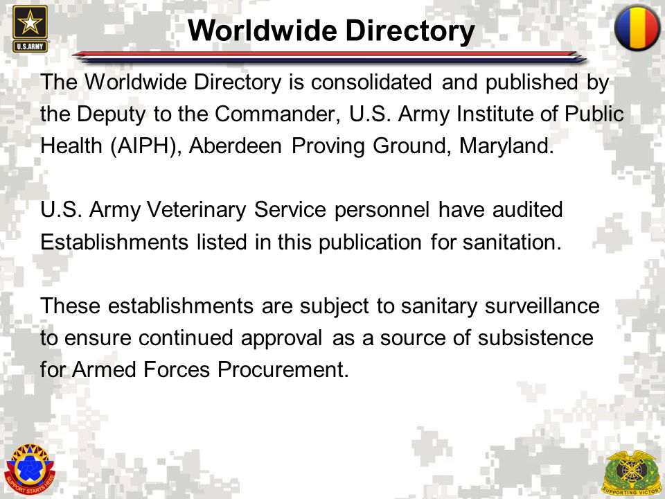 4 USAPHC Public Web Site The Worldwide Directory is updated daily and can be accessed through the USAPHC public Web site at http://phc.amedd.army.mil/Pages/default.aspx.http://phc.amedd.army.mil/Pages/default.aspx