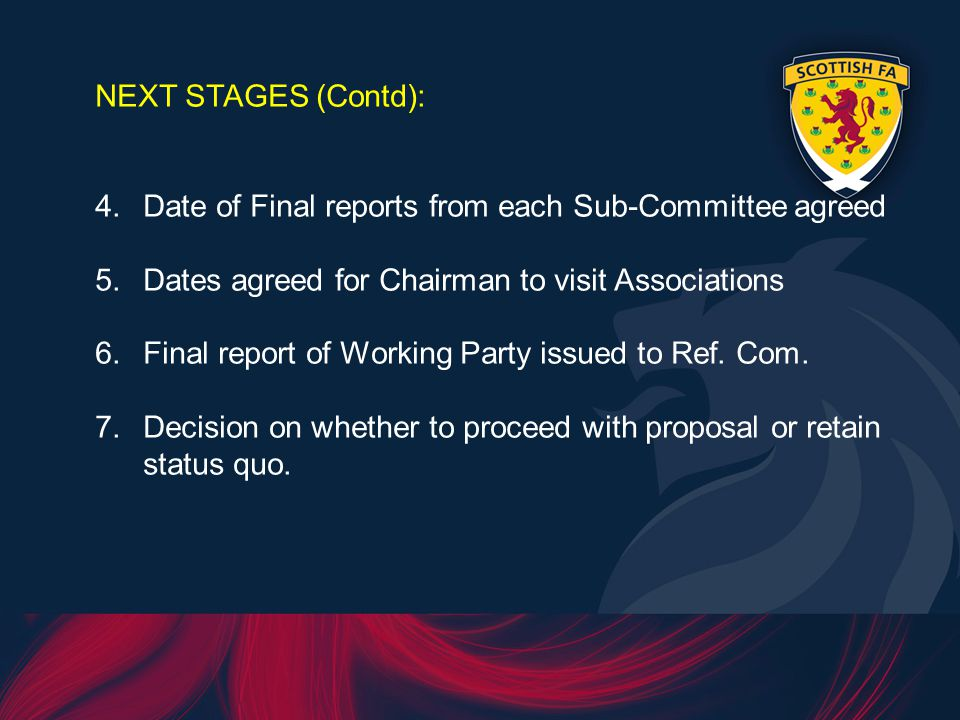 NEXT STAGES (Contd): 4.Date of Final reports from each Sub-Committee agreed 5.Dates agreed for Chairman to visit Associations 6.Final report of Working Party issued to Ref.