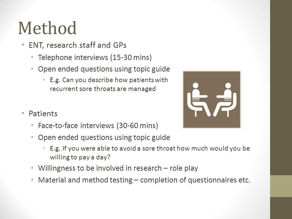 Method ENT, research staff and GPs Telephone interviews (15-30 mins) Open ended questions using topic guide E.g.