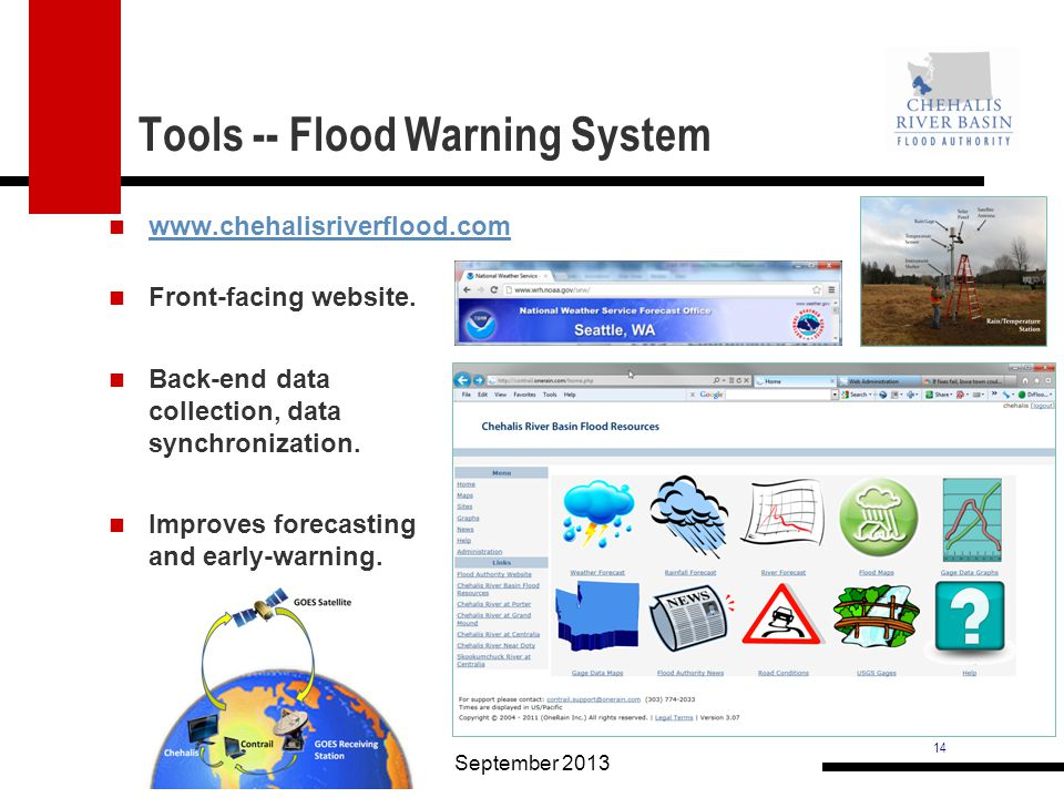 14 Tools -- Flood Warning System www.chehalisriverflood.com September 2013 Front-facing website.