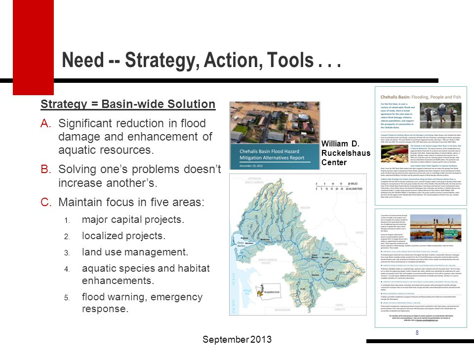 8 Need -- Strategy, Action, Tools... September 2013 William D.
