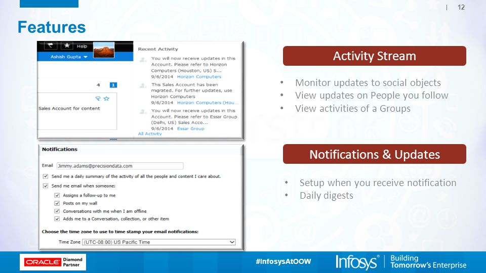 #InfosysAtOOW 12 Activity Stream Features Monitor updates to social objects View updates on People you follow View activities of a Groups Notifications & Updates Setup when you receive notification Daily digests