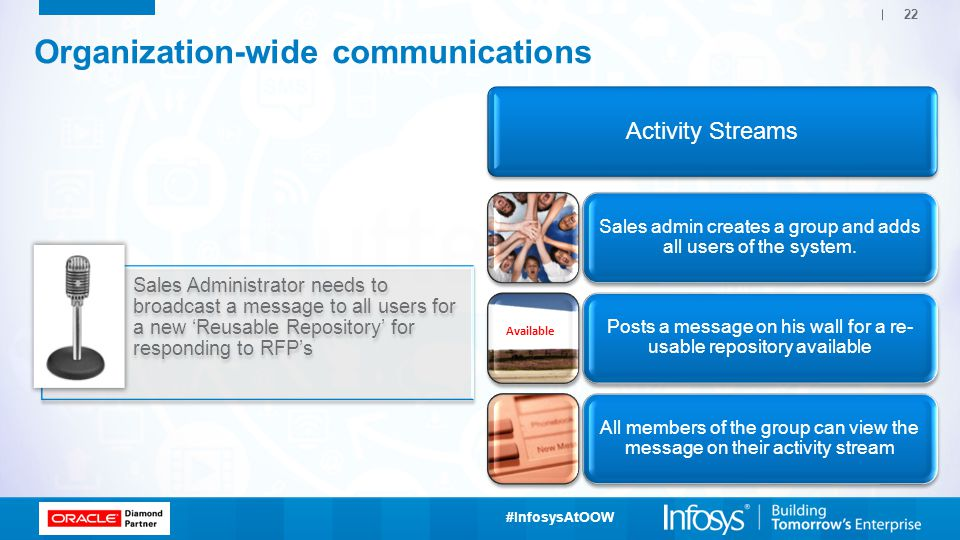 #InfosysAtOOW 22 Sales Administrator needs to broadcast a message to all users for a new 'Reusable Repository' for responding to RFP's Organization-wide communications Activity Streams Sales admin creates a group and adds all users of the system.