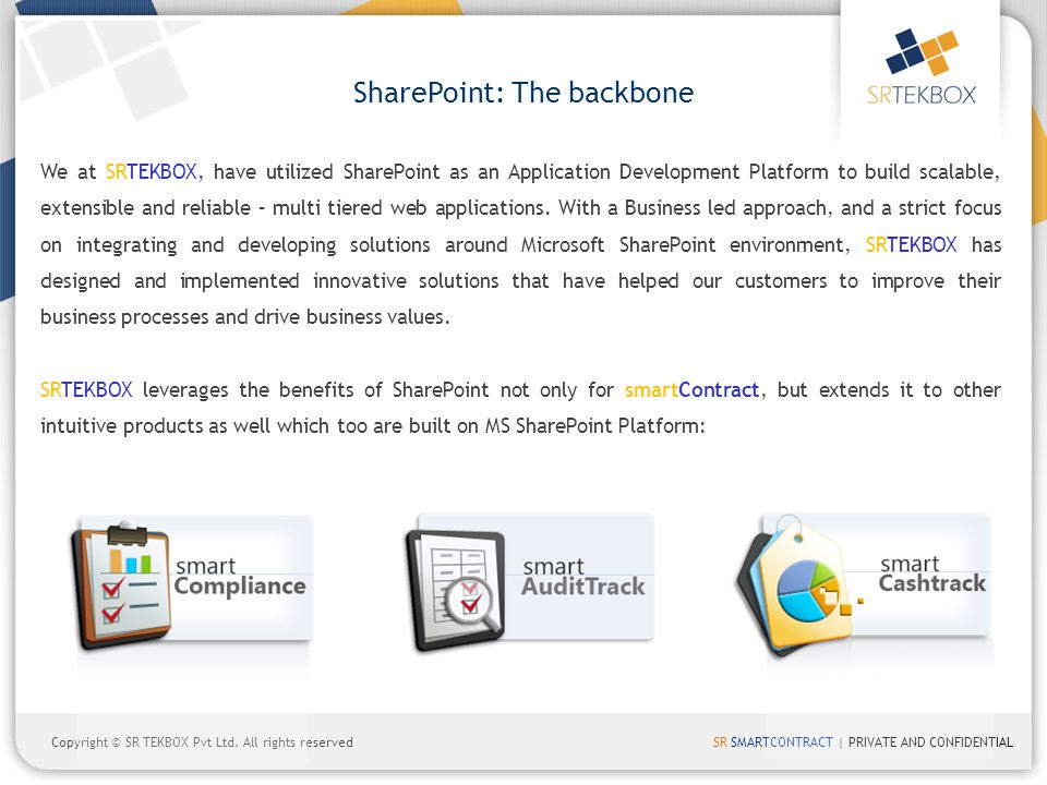 SR SMARTCONTRACT | PRIVATE AND CONFIDENTIALCopyright © SR TEKBOX Pvt Ltd. All rights reserved SharePoint: The backbone We at SRTEKBOX, have utilized S